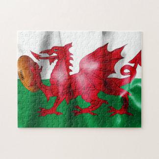 Puzzle Bandera de la bola de rugbi del dragón Galés