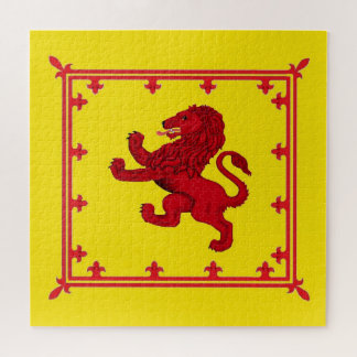 Puzzle Bandera/escudo desenfrenados rojos del león de