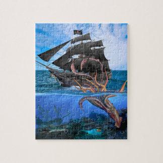 Puzzle Barco pirata contra el calamar gigante