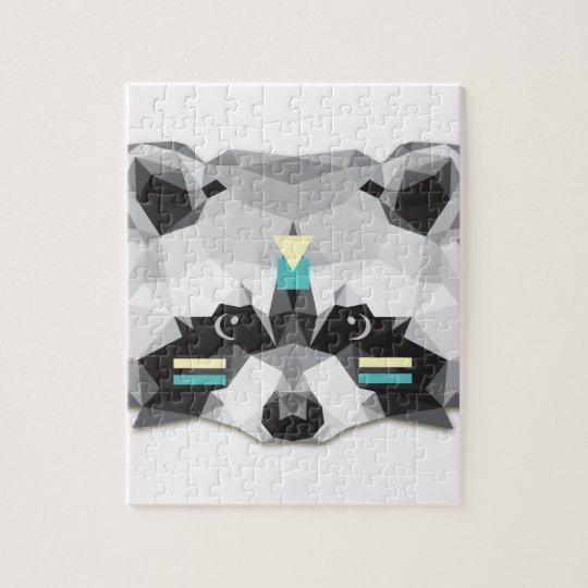 Puzzle Boho poly raccoon