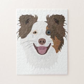 Puzzle Border collie feliz de la cara de los perros del