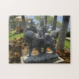 Puzzle Buda que monta una estatua del león, Waikoloa,