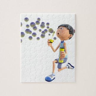 Puzzle Burbujas que soplan del chica del dibujo animado