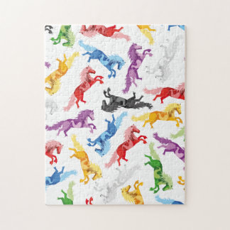 Puzzle Caballos de salto coloreados del modelo