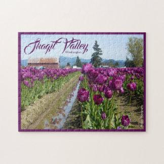 Puzzle Campos del tulipán (púrpuras) y granero (valle de