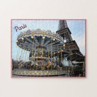 Puzzle Carrusel de París (y torre Eiffel) con el texto