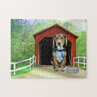 Puzzle Casa de perro cómica del puente cubierto de la