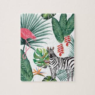 Puzzle Cebra y flamenco tropicales de la impresión de la