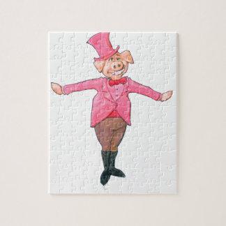 Puzzle Cerdo en un sombrero de copa