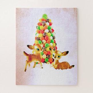 Puzzle Cervatillos del vintage por el árbol de navidad de