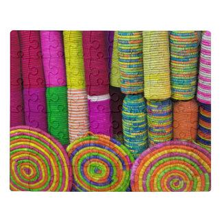Puzzle Cestas coloridas en el mercado