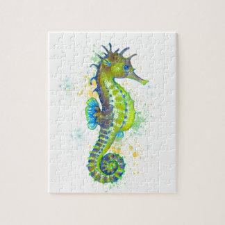 Puzzle Chapoteo del Seahorse del verde amarillo