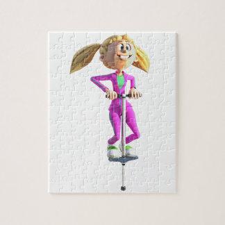 Puzzle Chica del dibujo animado que monta un palillo de