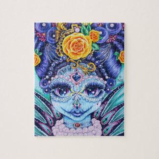 Puzzle Chica grande del ojo con los rosas y las perlas