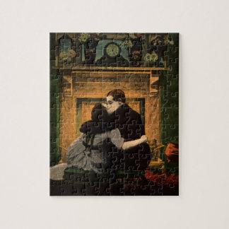 Puzzle Chimenea romántica de los pares del amor y del
