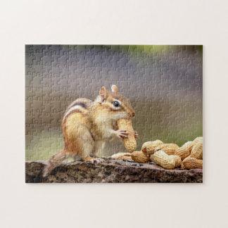 Puzzle Chipmunk que come un cacahuete