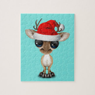 Puzzle Ciervos del bebé que llevan un gorra de Santa