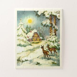 Puzzle Ciervos en una escena de la nieve