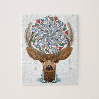 Puzzle Ciervos lindos mágicos del bosque con símbolo de