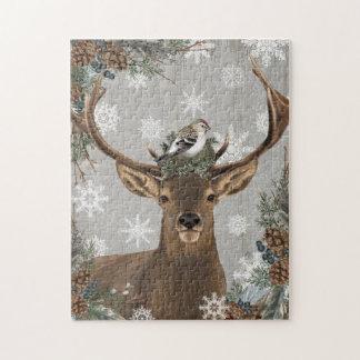 Puzzle ciervos rústicos del invierno del arbolado del