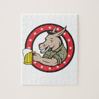 Puzzle Círculo del bebedor de cerveza del burro retro