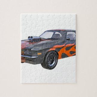 Puzzle coche del músculo de los años 70 con la llama
