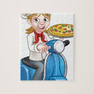 Puzzle Cocinero de la pizza de la mujer del dibujo