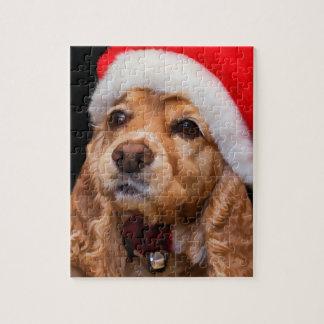 Puzzle Cocker spaniel que lleva el gorra de Santa