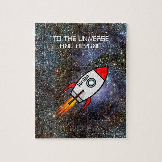 Puzzle Cohete de encargo del nombre y del texto de la