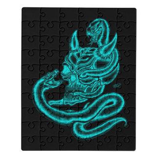 Puzzle Cráneo - cabeza del diablo con la serpiente
