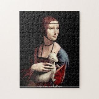 Puzzle Da Vinci - retrato de una señora con el armiño