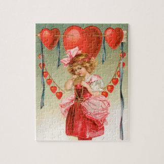 Puzzle Día de San Valentín del vintage, chica del