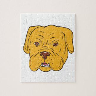 Puzzle Dibujo animado de la cabeza de perro de Burdeos