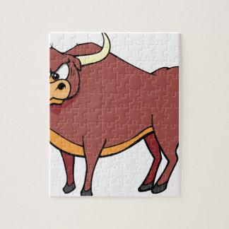 Puzzle Dibujo animado enojado de Bull