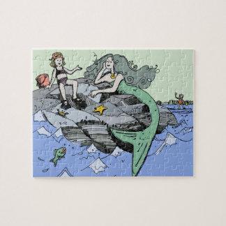 Puzzle Dibujo del dibujo animado de la playa de la sirena