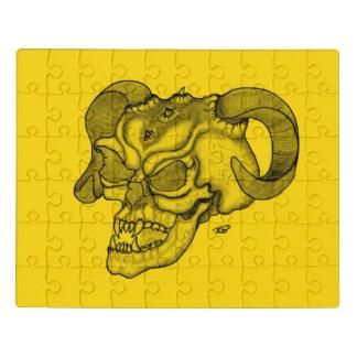 Puzzle Diseño negro y amarillo de la cabeza del diablo