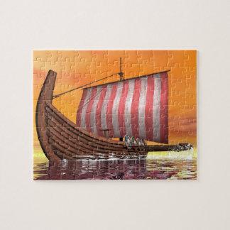 Puzzle Drakkar o nave de vikingo - 3D rinden