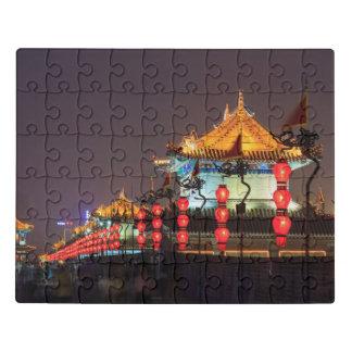 Puzzle Edificio de la pared de la ciudad en la noche