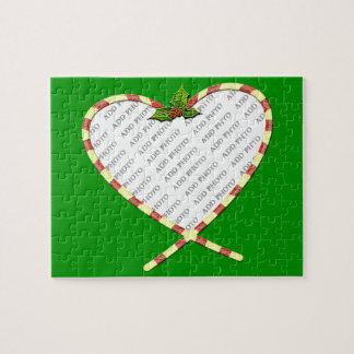 Puzzle El corazón del bastón de caramelo añade su marco d