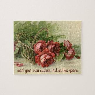 Puzzle El día de San Valentín del vintage, rosas rojos