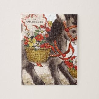 Puzzle El día de San Valentín dulce retro del burro del