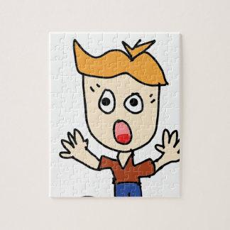 Puzzle el dibujo animado asustadizo del muchacho