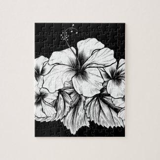 Puzzle El hibisco florece el grabado de la aguafuerte del