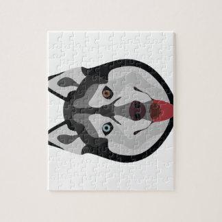 Puzzle El ilustracion persigue el husky siberiano de la