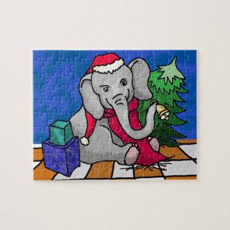 Puzzle Elefante del bebé del dibujo animado del navidad