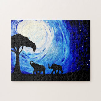 Puzzle Elefantes bajo claro de luna (arte de K.Turnbull)
