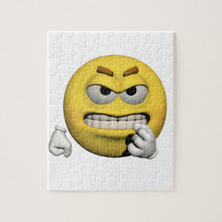 Puzzle Emoticon enojado amarillo o smiley