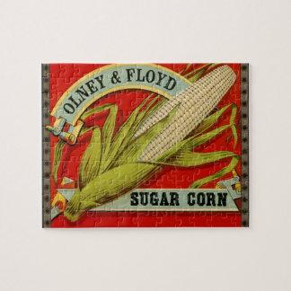 Puzzle Etiqueta vegetal del vintage, Olney y maíz de