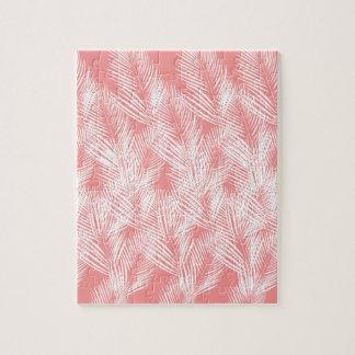 Puzzle Exotico del blanco del rosa de las palmas del