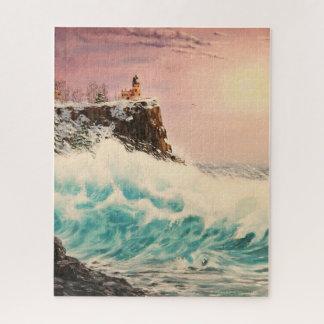 Puzzle Faro septentrional del invierno con las olas